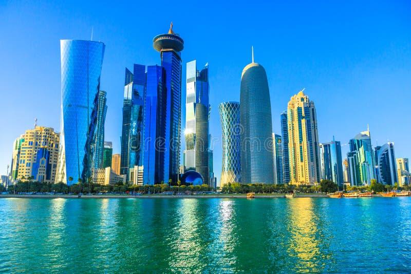 Doha West Bay skyline stock images