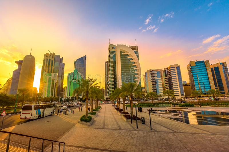 Doha West Bay sunset stock photo
