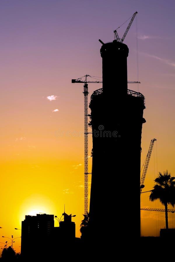 Doha wierza budowy sylwetka obraz royalty free