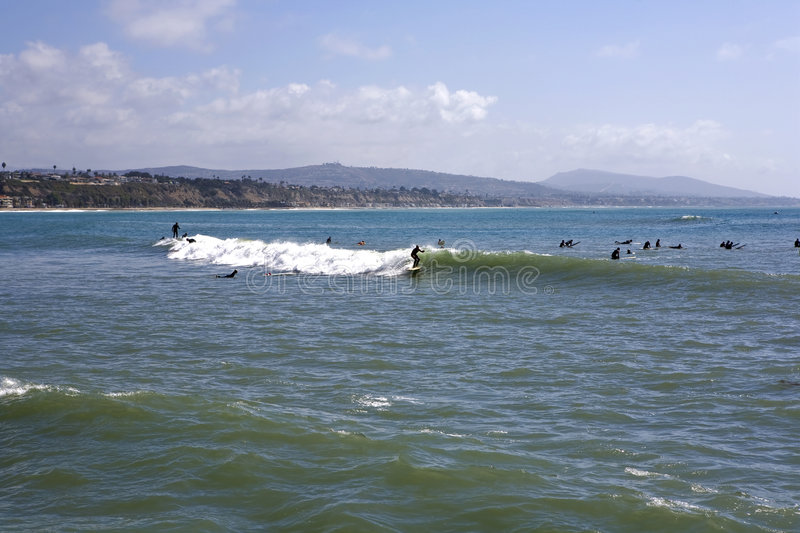 Doheny State Beach. Surfing at Doheny State Beach looking South towards San Clemente stock photos