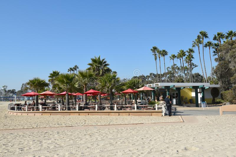 Doheny State Beach Concession Area. DANA POINT, CA - DECEMBER 1, 2017: Doheny State Beach concession area. The beach is a popular surf spot with Volleyball stock image