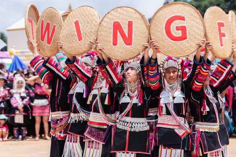 Akha Hill tribe minority traditional dancing on Akha Swing Festival. Doi Mae Salong, Chiang Rai - THAILAND, September 8, 2018 : Akha Hill tribe minority royalty free stock photos