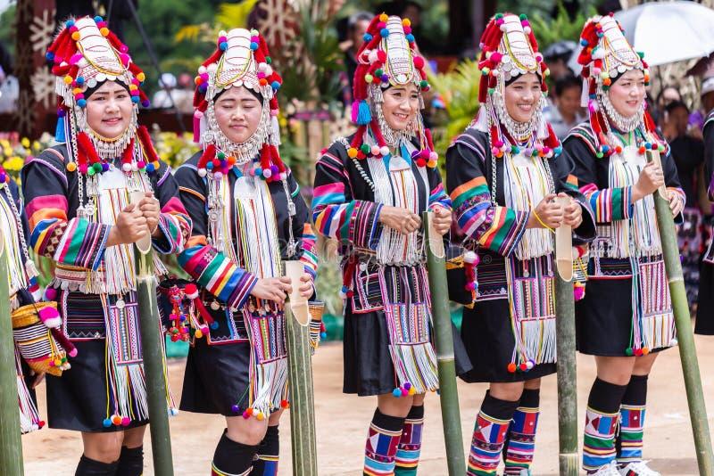 Akha Hill tribe minority traditional dancing on Akha Swing Festival. Doi Mae Salong, Chiang Rai - THAILAND, September 8, 2018 : Akha Hill tribe minority royalty free stock photo