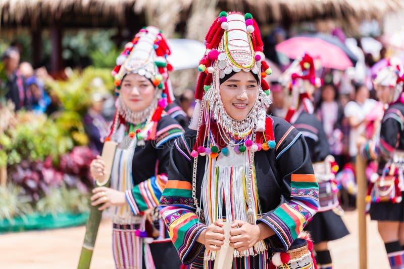 Akha Hill tribe minority traditional dancing on Akha Swing Festival. Doi Mae Salong, Chiang Rai - THAILAND, September 8, 2018 : Akha Hill tribe minority royalty free stock photography