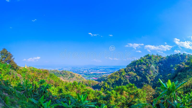 At Doi Pha Mee view point you can see Doi Nangnon in Maesai Chiang Rai shape of mountains look like women sleeping. Inside of Doi Nang Non have big and long royalty free stock photo