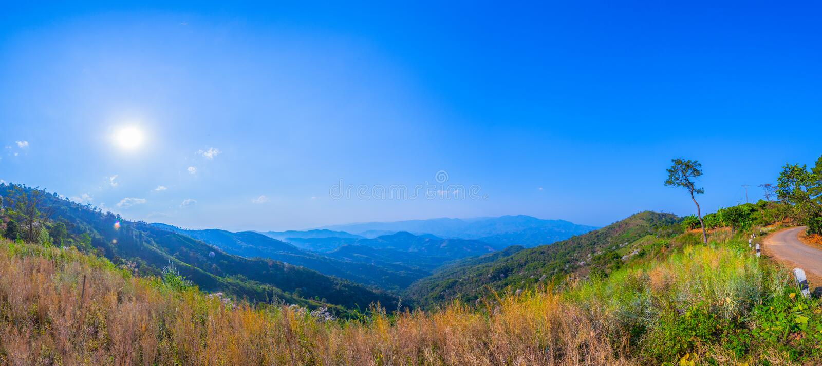 At Doi Pha Mee view point you can see Doi Nangnon in Maesai Chiang Rai shape of mountains look like women sleeping. Inside of Doi Nang Non have big and long royalty free stock photos