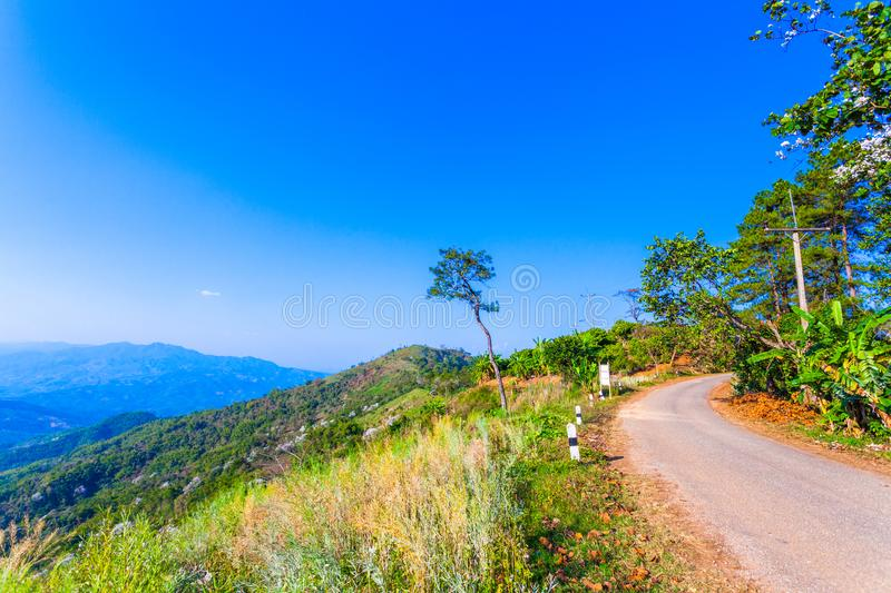 At Doi Pha Mee view point you can see Doi Nangnon in Maesai Chiang Rai shape of mountains look like women sleeping. Inside of Doi Nang Non have big and long royalty free stock photography
