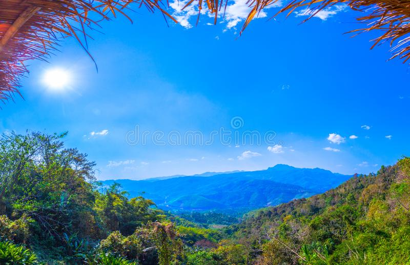 At Doi Pha Mee view point you can see Doi Nangnon in Maesai Chiang Rai shape of mountains look like women sleeping. Inside of Doi Nang Non have big and long royalty free stock image