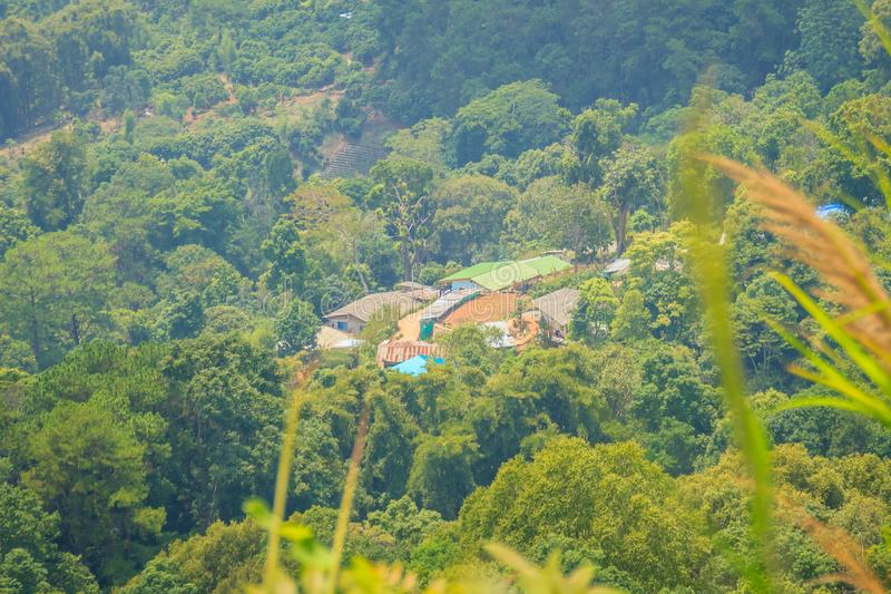 Doi Pui's Hmong ethnic hill-tribe village, aerial view from the. Cliff with green forest on the mountain background. Doi Pui Hmong tribal village is stock photos