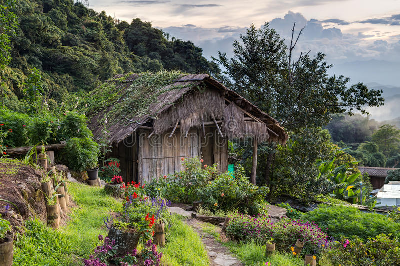 Doi Pui Mong Hill Tribe Village, Chiang Mai, Noordelijk Thailand stock foto