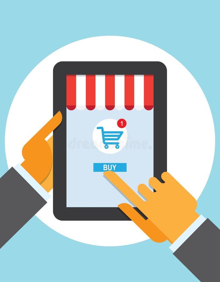 Doigt de contact de bouton d'achat de PC de Tablette sur la ligne magasin illustration libre de droits