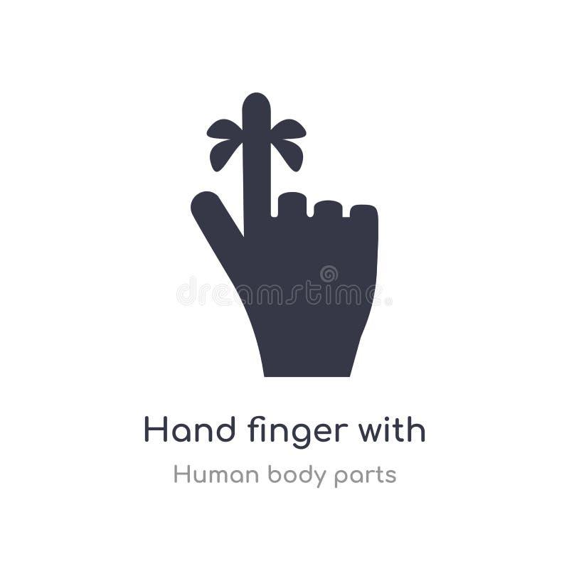doigt de main avec une icône d'ensemble de ruban ligne d'isolement illustration de vecteur de collection de pi?ces de corps humai illustration libre de droits