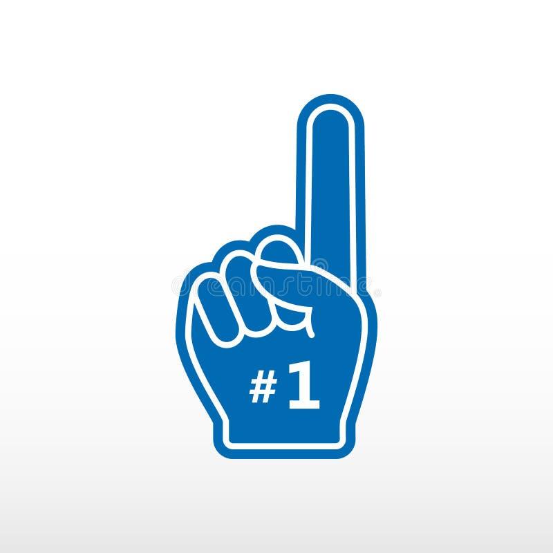 Doigt de mousse Numéro 1, gant bleu avec l'appartement augmenté par doigt, main de fan illustration stock