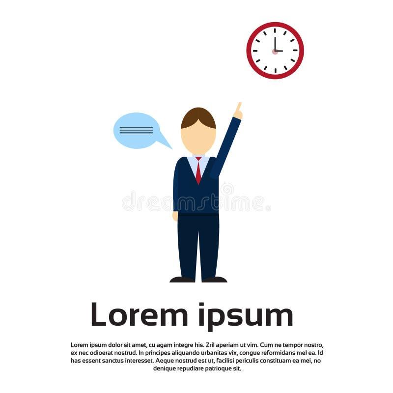 Download Doigt De Point D'homme D'affaires Au Concept De Date-butoir De Gestion Du Temps D'horloge Illustration de Vecteur - Illustration du illustration, plat: 77156955