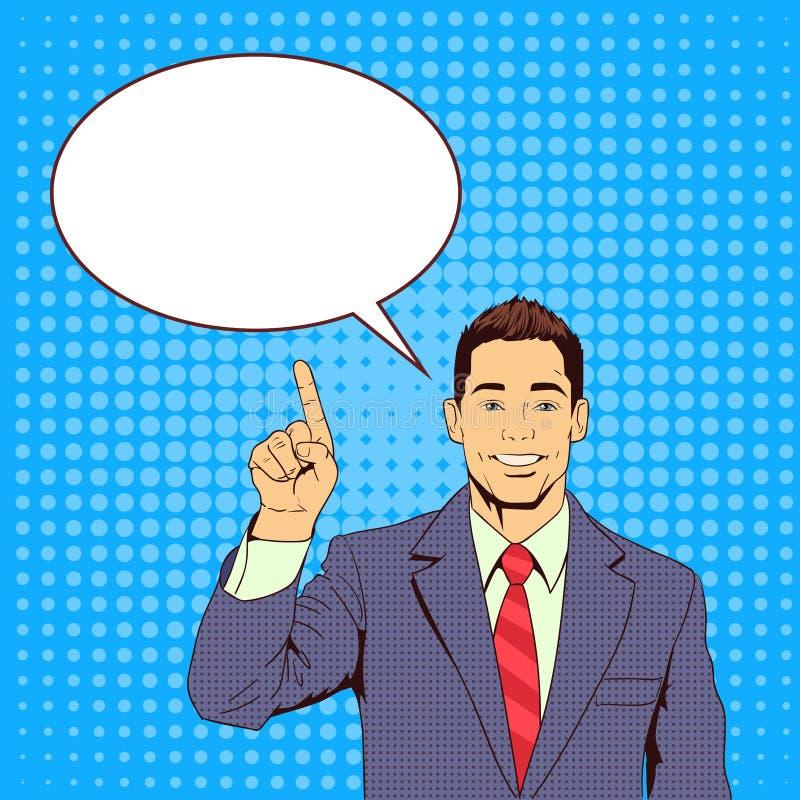 Doigt de point d'homme d'affaires pour causer le bruit Art Colorful Retro Style de bulle illustration stock