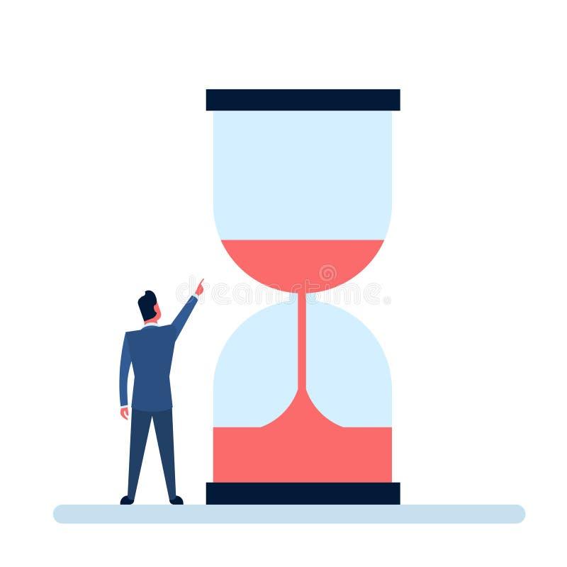 Doigt de point d'homme d'affaires pour poncer le concept de date-butoir de montre illustration stock