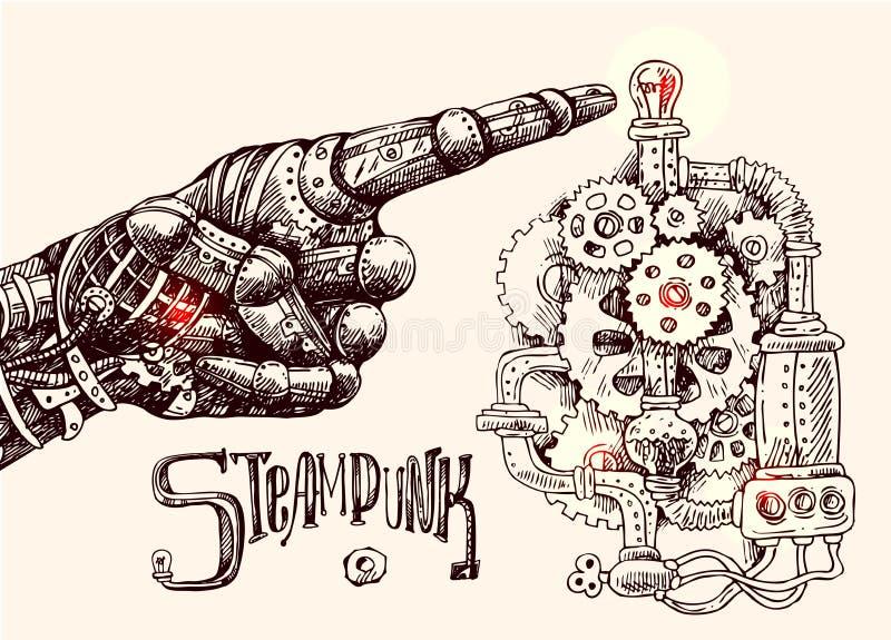 Doigt de pointage mécanique illustration de vecteur