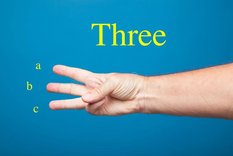Doigts d'une main faisant les signes et les expressions numériques image libre de droits