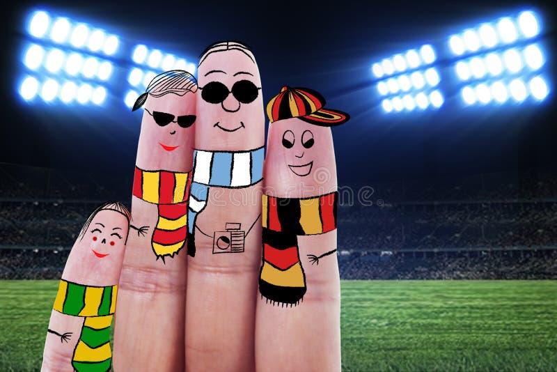 Doigts faisant des gestes comme fans de foot photographie stock libre de droits