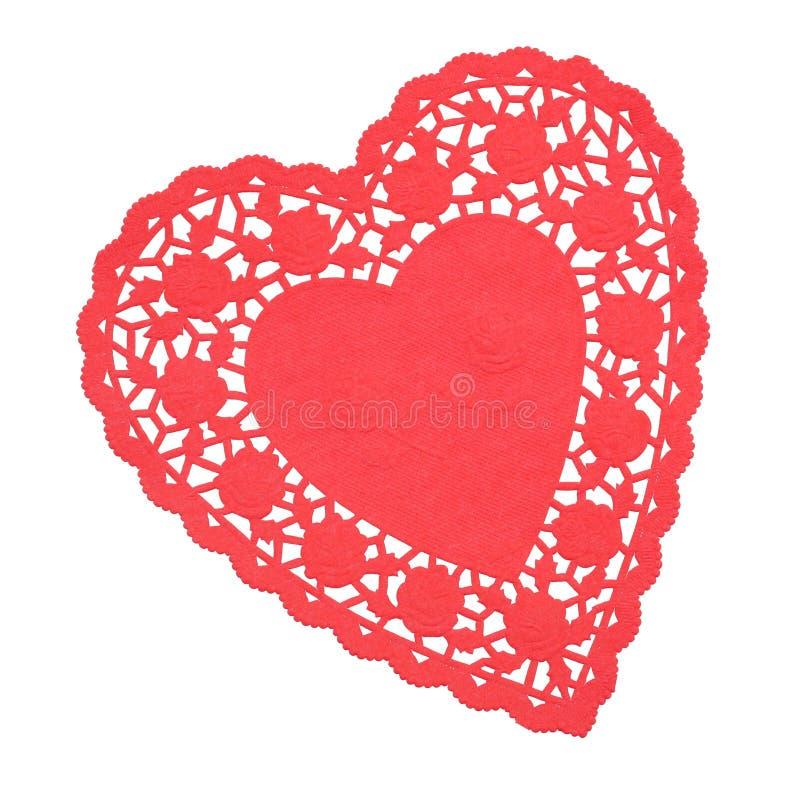 Doilie en forma de corazón rojo aislado fotos de archivo libres de regalías