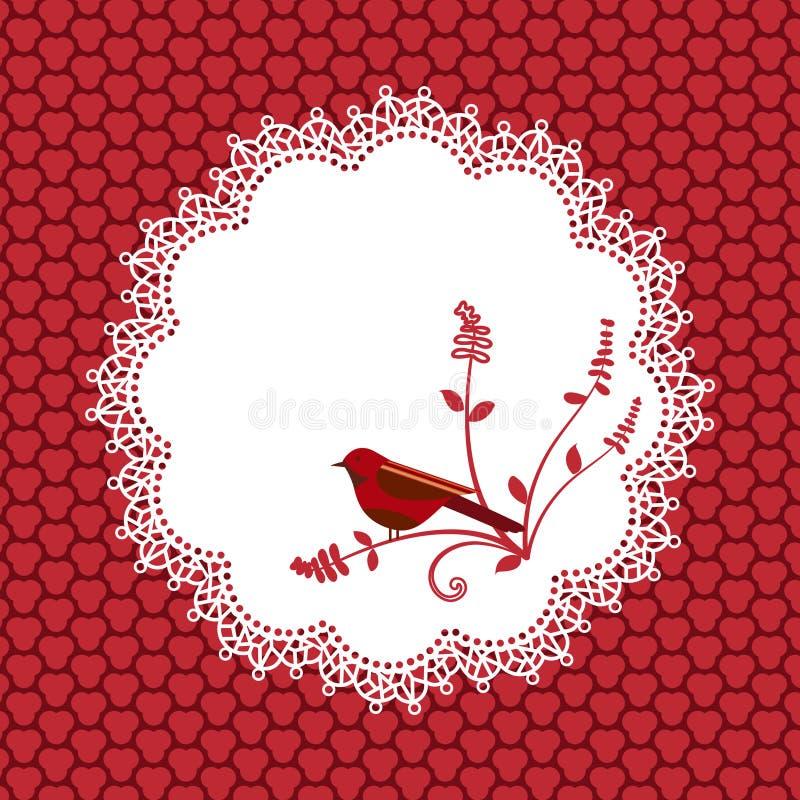 Doilie grazioso ed uccello royalty illustrazione gratis