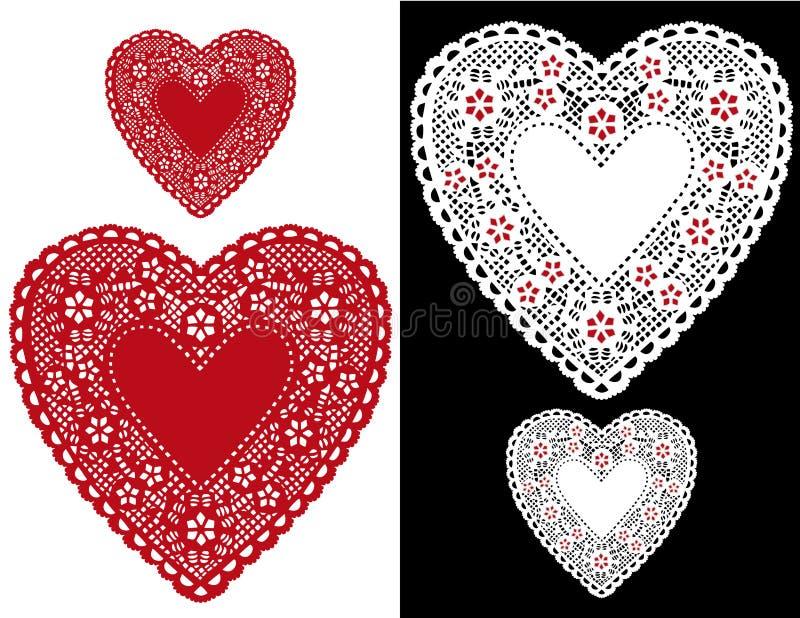 Doilies do coração, estrelas (jpg+eps) ilustração stock