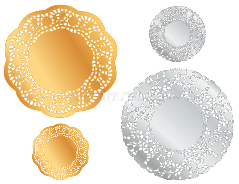 doilies gold silver иллюстрация штока