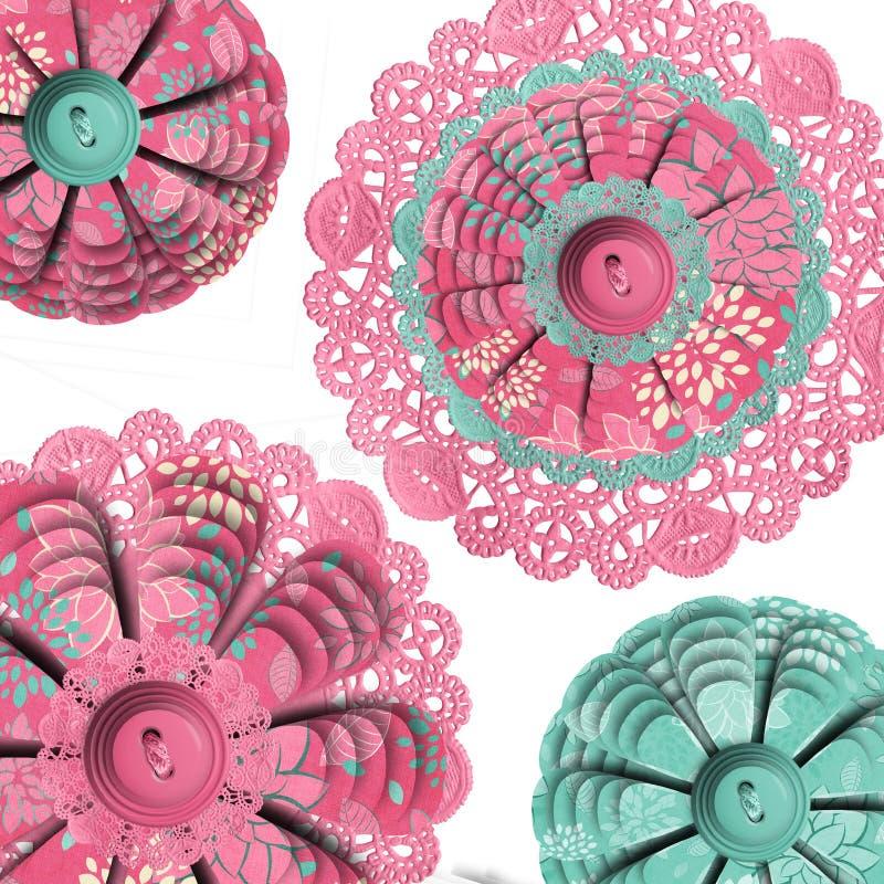 Doilies florais abstratos ilustração royalty free