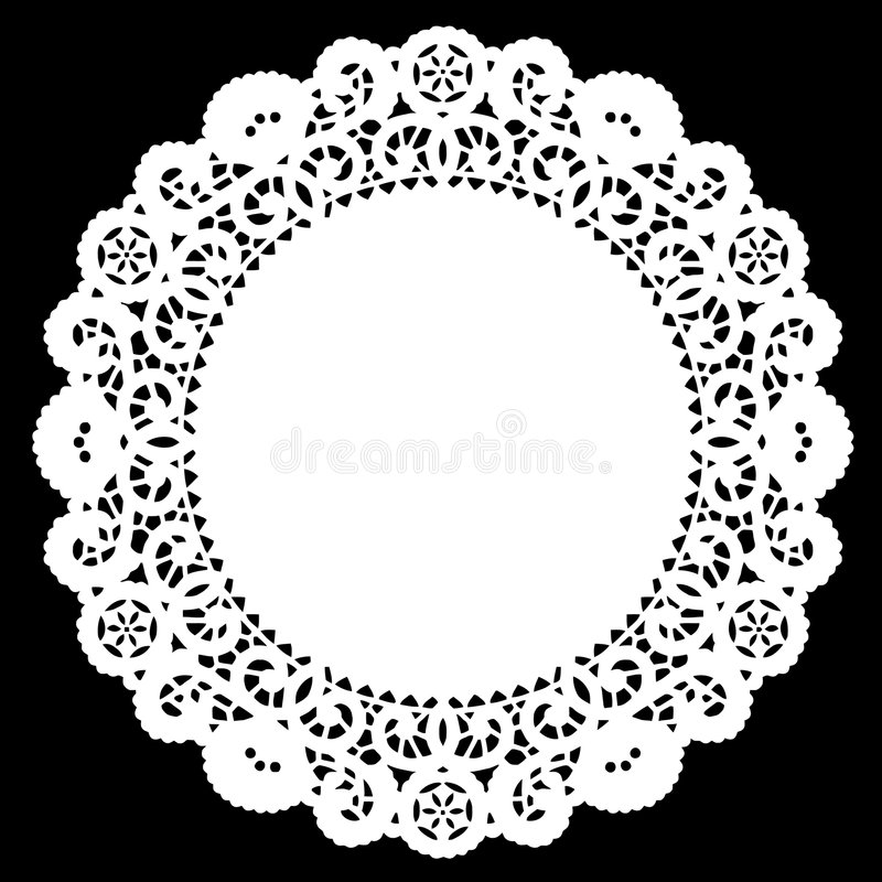doily δαντέλλα γύρω από το λευκό διανυσματική απεικόνιση