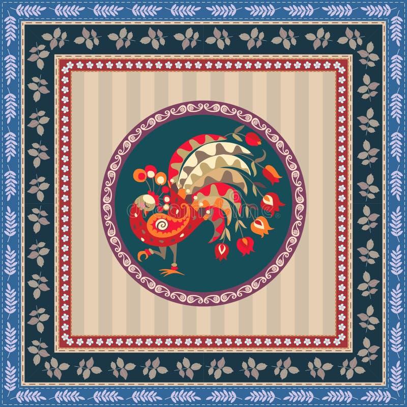 Doily bonito com pavão feericamente e quadro botânico decorativo Molde do vetor ilustração royalty free