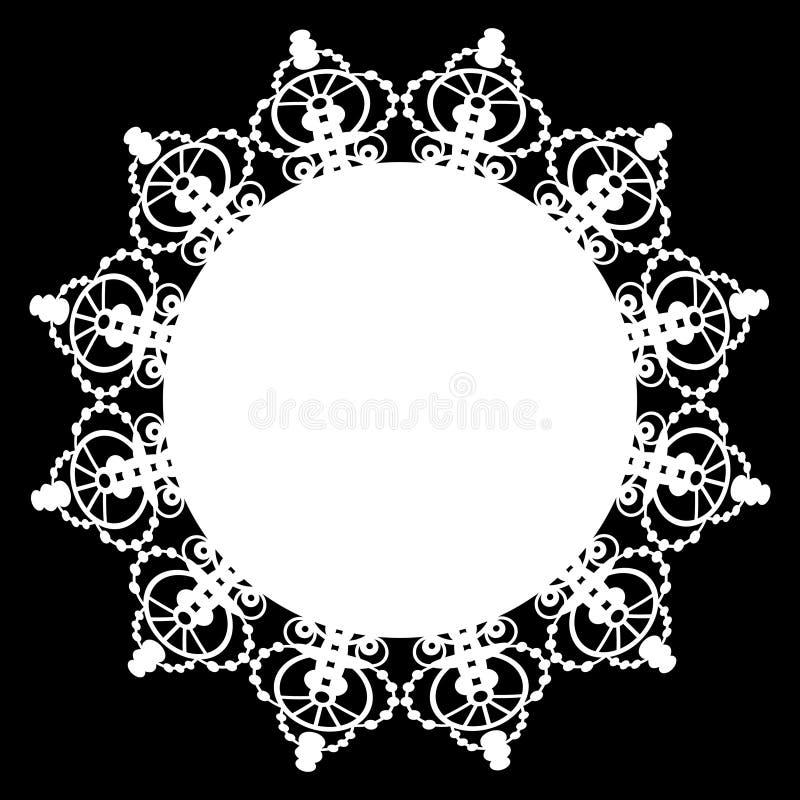 Doily branco do laço ilustração do vetor