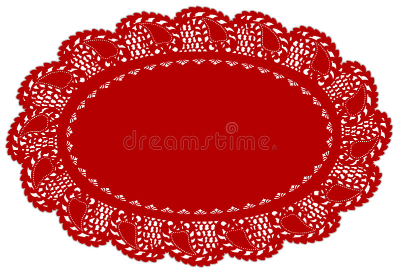 doily edge lace leaf mat place red иллюстрация штока