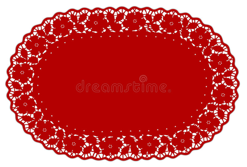 doily lace mat pattern place red rose иллюстрация вектора