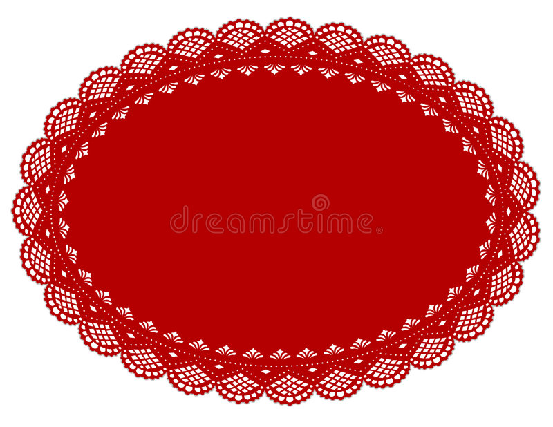 doily lace mat place red vektor illustrationer