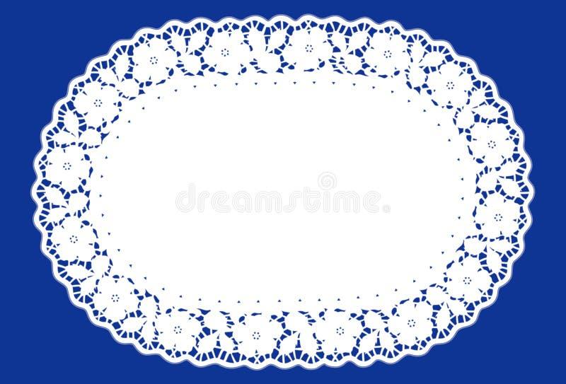 Doily oval do laço, azul (jpg+eps) ilustração royalty free
