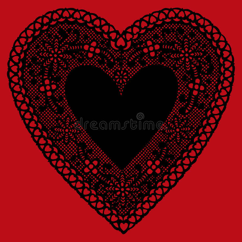 Doily preto do coração do laço de +EPS no fundo vermelho ilustração do vetor