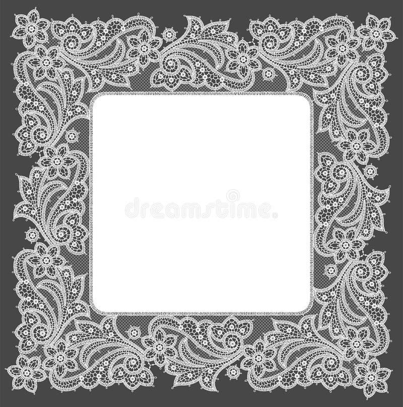 doily Quadro branco do laço ilustração do vetor
