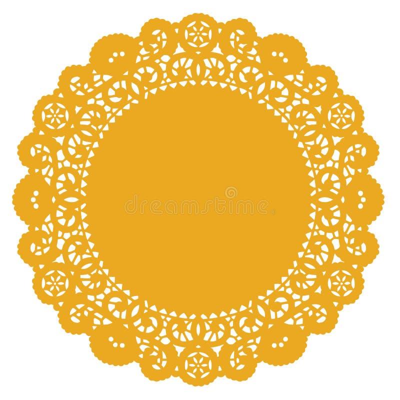 Doily redondo do laço de +EPS, ouro ilustração stock