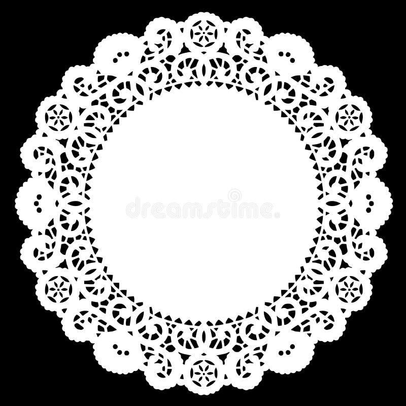 Doily rotondo del merletto di +EPS, bianco illustrazione vettoriale