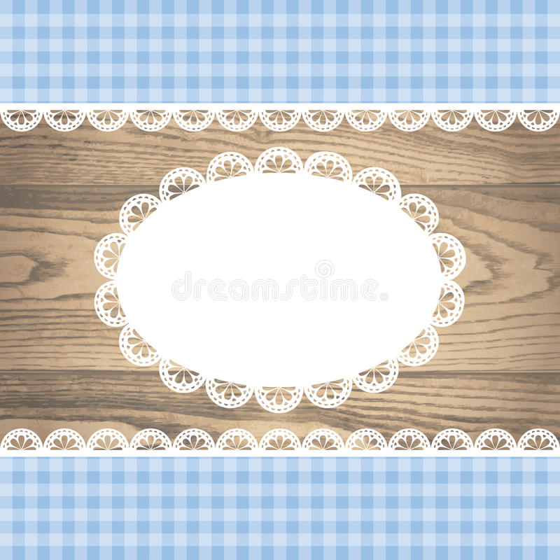 Doily on rustic wooden texture with empty lace frame vector illustration
