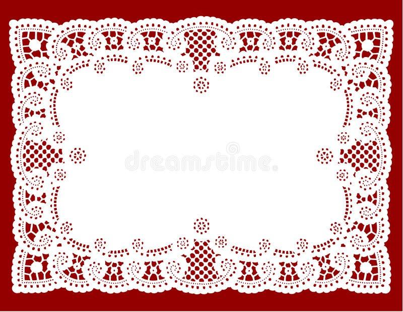 Doily van het kant op rood (jpg+eps)