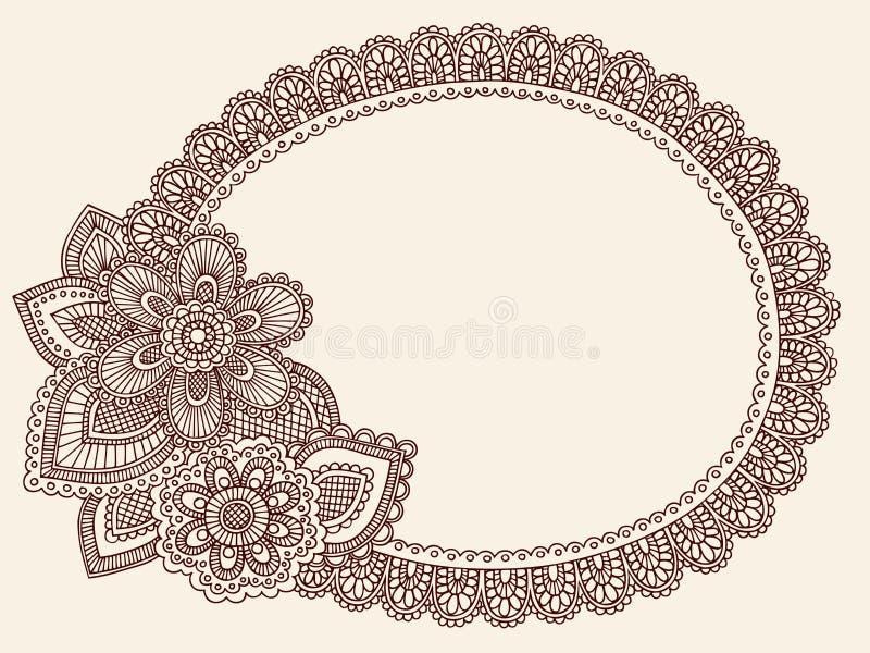 Doily van het Kant van Mehndi van de henna de Vector van de Krabbel van Paisley royalty-vrije illustratie