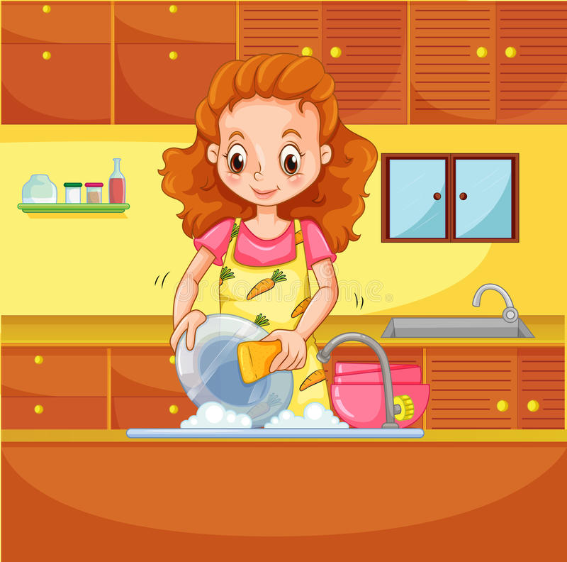 Doing dishes royalty free illustration