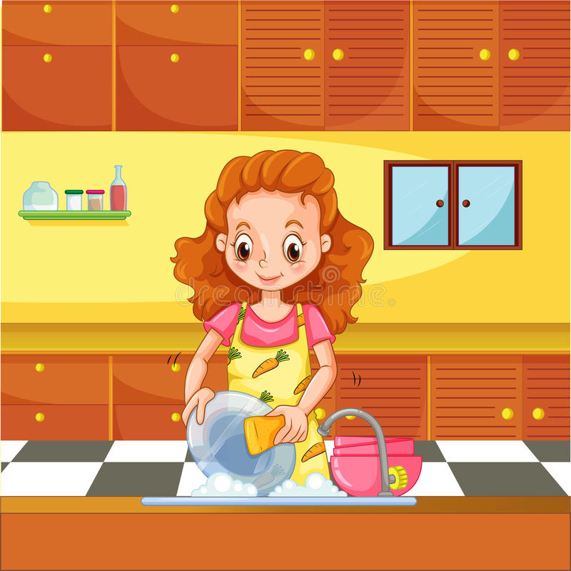 Doing dishes. Woman doing dishes in the kitchen vector illustration