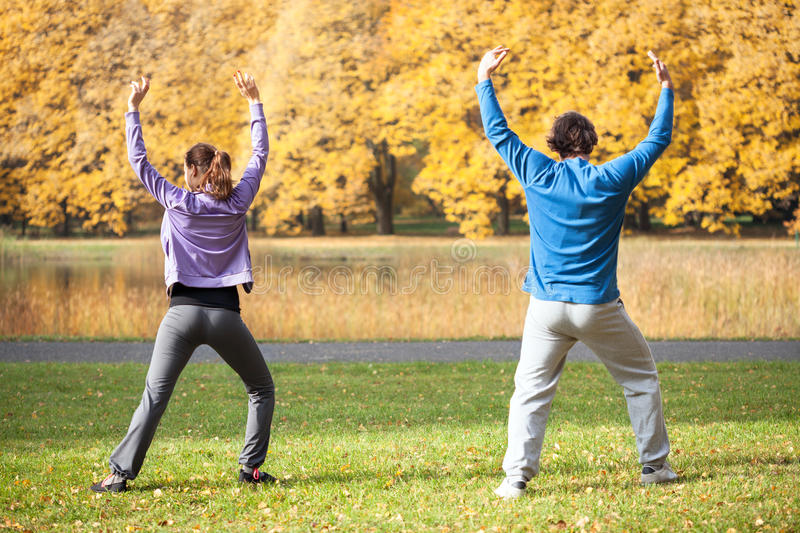 Doing exercises together stock photography