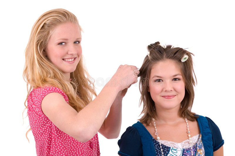 Download Doing her hair stock photo. Image of hair, teenagers, best - 3522608