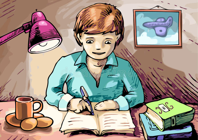 Download Doing the homework stock illustration. Image of books - 24199496