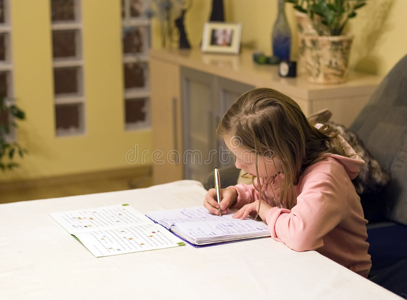 Doing homework royalty free stock photo