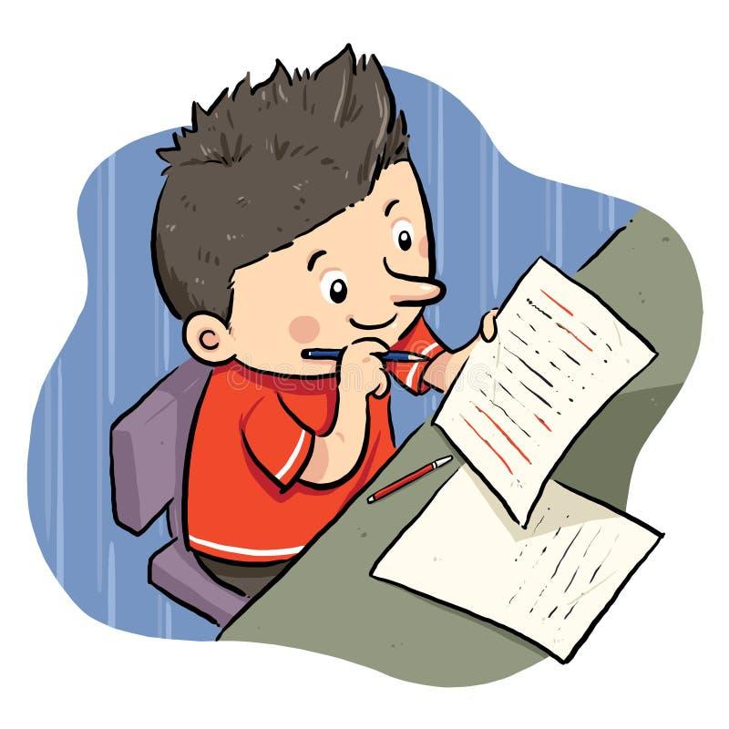 Doing Homework. A boy doing his homework. Vector EPS8 file vector illustration