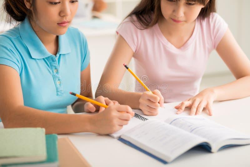 Doing homework. Cropped image of two Vietnamese schoolgirls doing homework together stock image